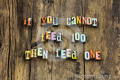 Feed share food caring help homeless typography