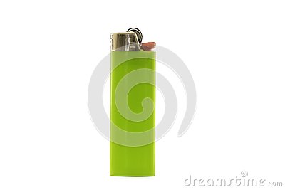Green lighter isolated on white background, with clipping path.