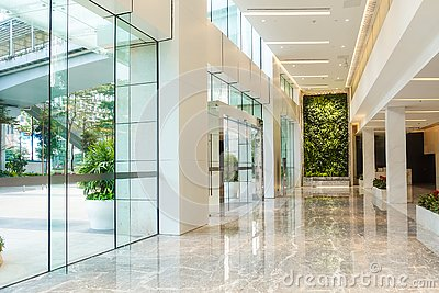 stock image of modern commercial building lobby,office corridor, hotel passageway