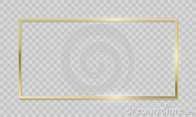 Gold frame on transparent background. Vector realistic isolated golden shiny border frame