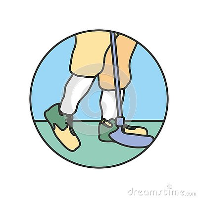 Circular frame with golf player feet and stick