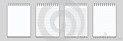 Notebook memo notepad binder. Vector note pad or diary with lined and squared paper page template