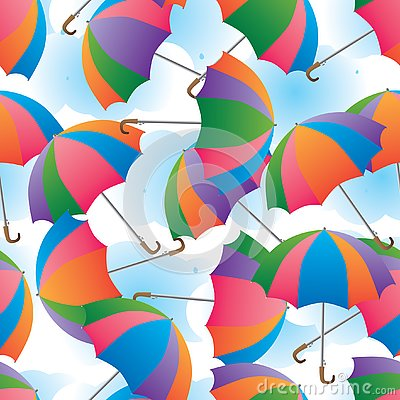 Umbrella colorful rotate cloud background seamless pattern