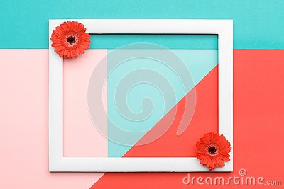 Happy Mother`s Day, Women`s Day, Valentine`s Day or Birthday Living Coral Background. Floral flat lay greeting card.