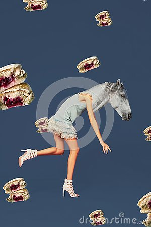 Contemporary art collage. Concept woman with horse head.