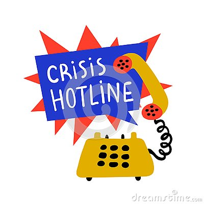 Psychology. Crisis hotline, Support call, psychological help. Yellow hand drawn phone with rad and blue speech bubble