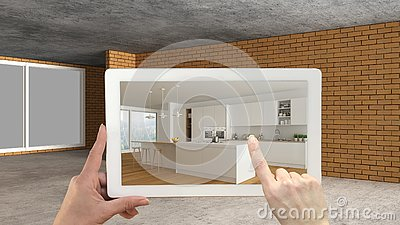 Augmented reality concept. Hand holding tablet with AR application used to simulate furniture and design products in an interior