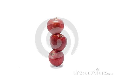 stock image of three red apples stacked on the top of each other, isolated on white background