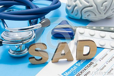 SAD medical abbreviation meaning seasonal affective disorder, depression could during seasons with little light. Word SAD is surro