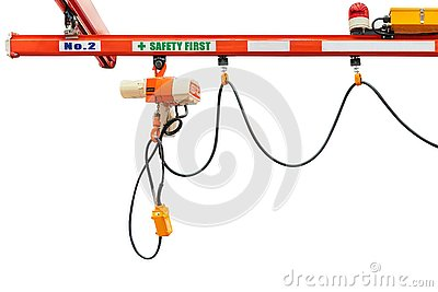 Overhead electric chain hoist with hook remote switch control isolated on white background with clipping path