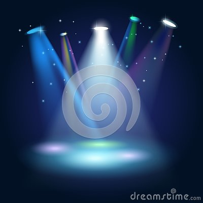 Stage Podium Scene with for Award Ceremony on blue Background