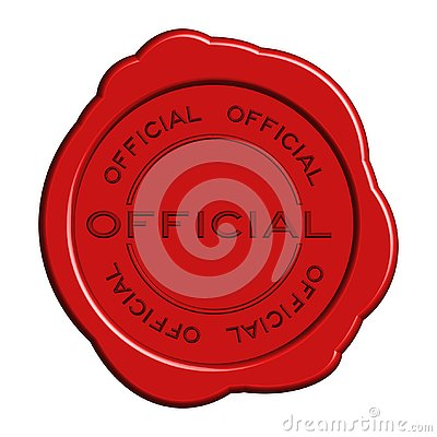 Red official word round wax seal stamp