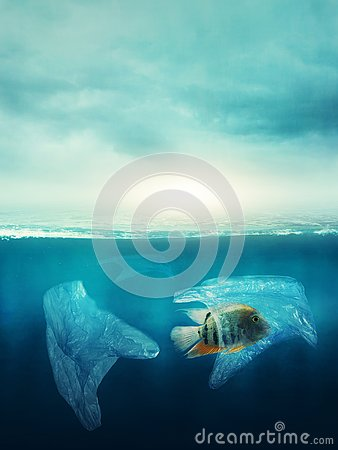Plastic bag with a fish in the ocean