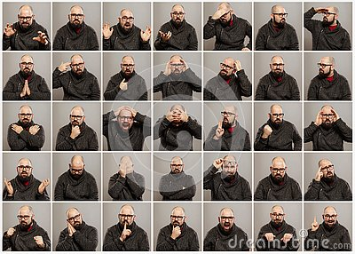 stock image of bald young man with glasses, a set of different emotions