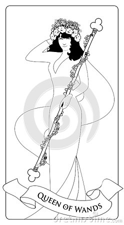 Outlines Queen of Wands with flowers crown, holding a rod surrounded by a garland of leaves and flowers.