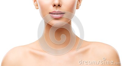 Woman Beauty Skin Care, Model Face Lips Neck and Shoulders on White
