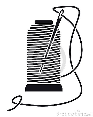 Icon Sewing Thread on Spools. Vector Isolated Coil. Silhouette