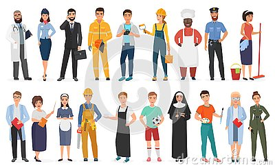Collection of men and women people workers of various different occupations or profession wearing professional uniform