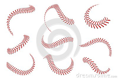 Baseball laces set. Baseball stitches with red threads. Sports graphic elements and seamless brushes