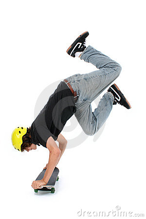 Teen Boy With Skateboard Over White Doing Hand Stand