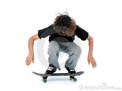 Teen Boy With Skateboard Over White