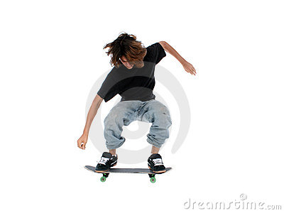Teen Boy With Skateboard Jumping Over White