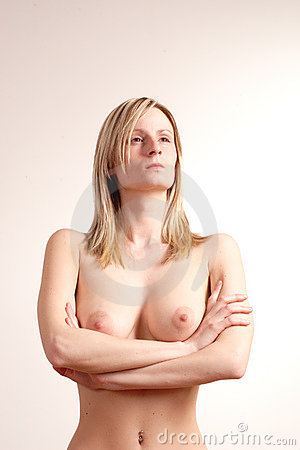Proud and resentful naked woman