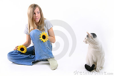 Sitting Girl And Cat
