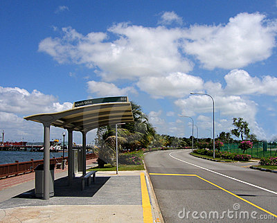 Bus stop and blue sky