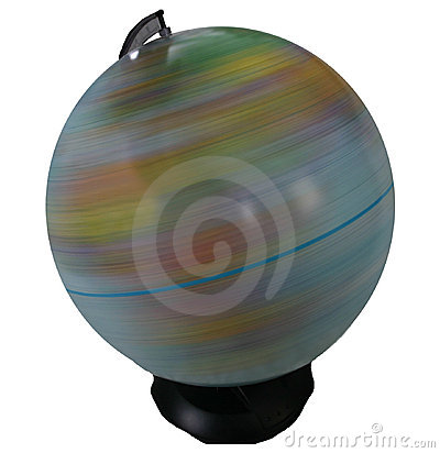 Spinning globe isolated