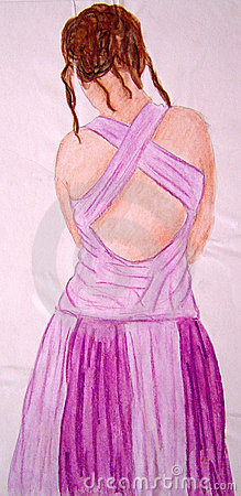 Painting of a Lady in a Purple Dress