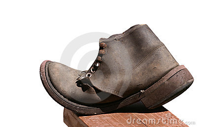 Old Leather Shoe Isolated
