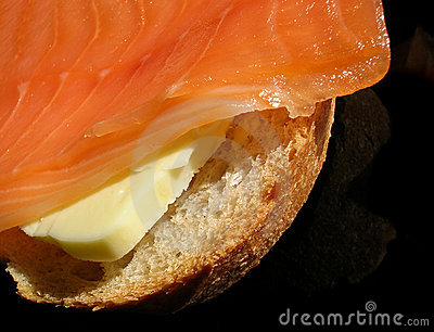 Smoked salmon sandwich close-up