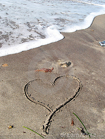 Lonely heart on the beach