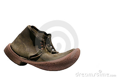 Old Leather Boot Isolated