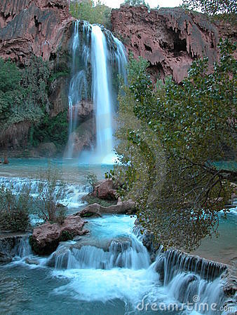 Turquoise Blue Waterfall