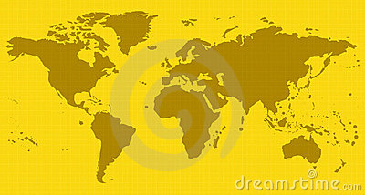 Yellow world map