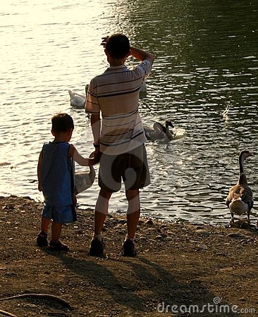 Father and Son at the Duck Pond