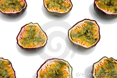 Passion fruits sliced