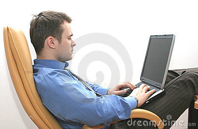 Consultant working on laptop