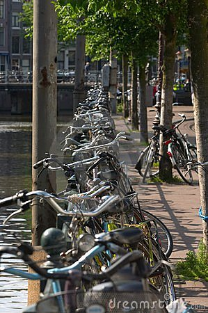 Bicycles at the canals in Amsterdam.
