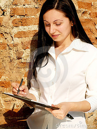 Woman checking a list