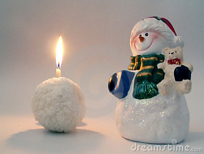 Snowman and snowball candle