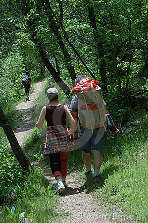 Couple walking down the trail