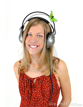 Smiling Girl With Headphones