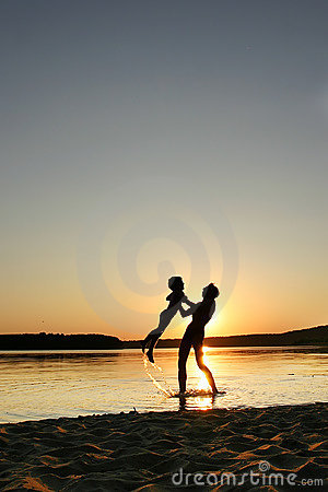 Father, son and sunset