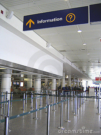 Information sign and baggage checking at airport