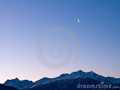 The moon over the mountains
