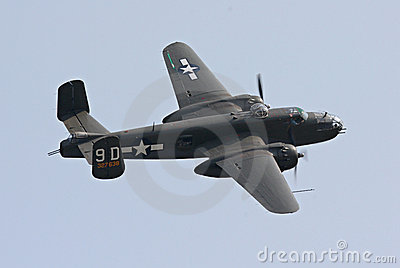 B-25 bomber in flight