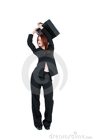 Beautiful Young Business Woman With Briefcase
